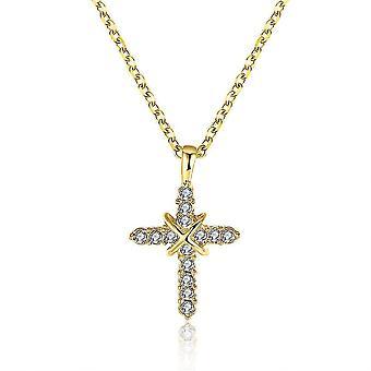 Inalis Fahsion Ouro Banhado Colar de Cristal Cruz Para Mulheres