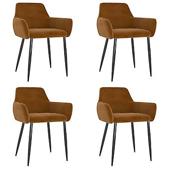 vidaXL dining chairs 4 pcs. Brown velvet