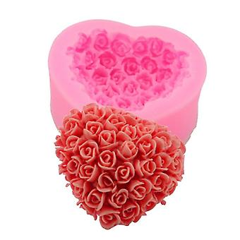 3D lovely heart flower rose silicone molds for home homemade soap aromatherapy candle cake decoration