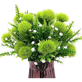 Artificial Dandelion, Plastic Flower Shrub And Fake Grass Wedding Indoor And Outdoor Planting Filler-green 4 Pcs