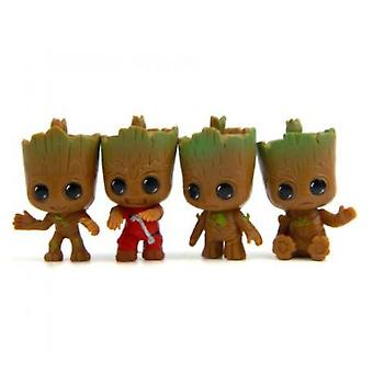 4 stuks / set Guardians Of The Galaxy Mini Cute Baby Groot Action Figure Toy