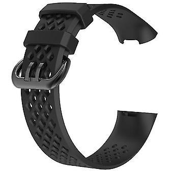 Correa de silicona suave de reemplazo para Fitbit Charge 3 (5.1-7.1inch) - Negro