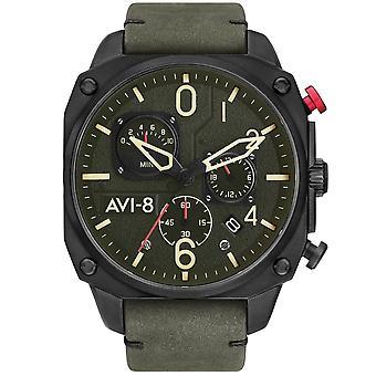 AVI-8 Av-4052-08 Mens Hawker Hunter Kronograf Svart & Djupgrön Läderklocka
