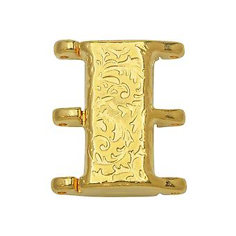 Cymbal Magnetic Clasps for 8/0 Delica & Round Beads, Nisidia III, Rectangle 16x20mm,  1 Set, 24k Gold Plated