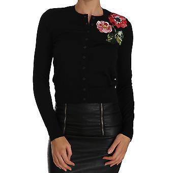Dolce & Gabbana Musta Neuletakki Kukka kirjailtu Villapaita