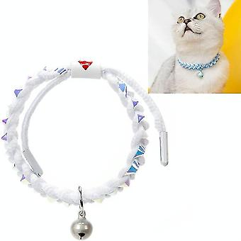 4 PCS Adjustable Pet Bell Color Cotton Woven Cat and Dog Universal Collar, Colour: Braided White