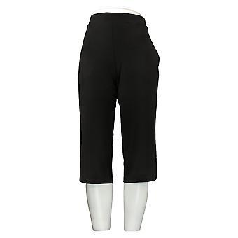 Susan Graver Pantalones Petite de mujer impresos líquido de punto de pierna ancha negro A303342
