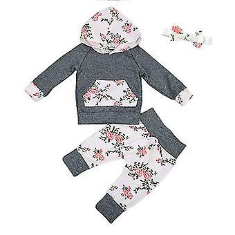 Vauvan syksyn vaatteet Pitkähihainen kukka hupullinen pusero & pääpanta setti