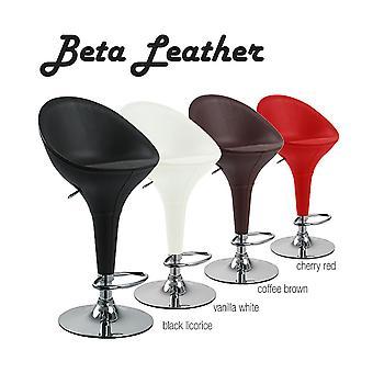 Beta Faux Leather Contemporary Bombo -tyylinen säädettävä korkeus barstool - kiillotettu kromattu teräsalusta lattiaa suojaavalla kumirenkaalla