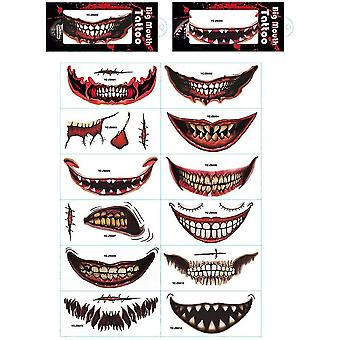 12pcs Halloween Graphic Mouth Tattoo Stickers Set
