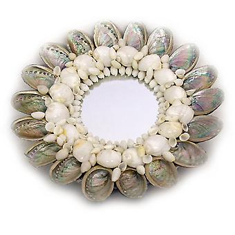 Natural Abalone Shell Frame Small Round Wall Mirror 10 Inch Diameter