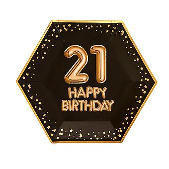 Glitz & Glamour Black & Gold Plate - Suuri - Ikä 21