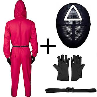 Halloween Squid Game Cos Clothing Squidgame Clothing Adult Jumpsuit + Belt + Gloves + Mask