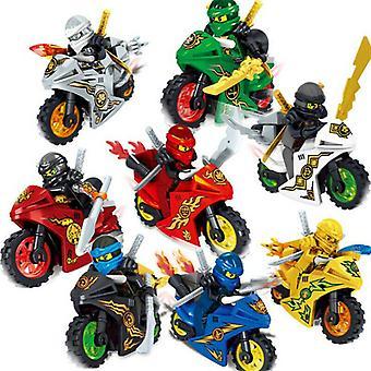 8x Ninjago Motorrad Set Minifiguren Figuren Blöcke Spielzeug