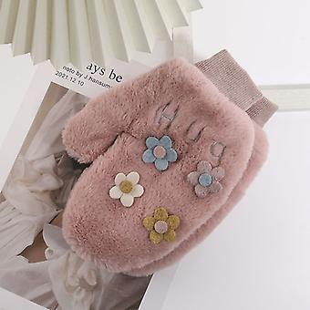 Korean Version Of The Lovely Flower Female Winter With Fleece Warm Finger Hanging Neck Student Gloves