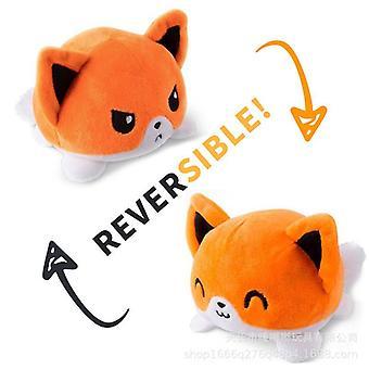 リバーシブルクラムシェル猫ぬいぐるみ、かわいい動物クラムシェル人形、オレンジキャット