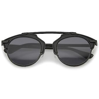Modern Metal Crossbar Round Lens Pantos Aviator Sunglasses 48mm