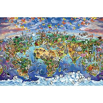 Landkarte Welt Wunder - Maria Rabi-Poster-Plakat-Druck
