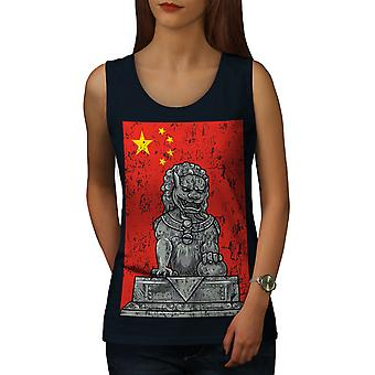 Kina flagg Lion kvinner NavyTank toppen | Wellcoda