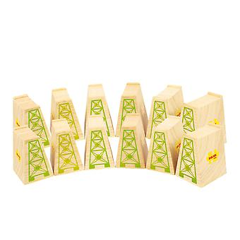 Bigjigs Rail Wooden High Level Blocks (Pack of 12) Track Expansion Pack