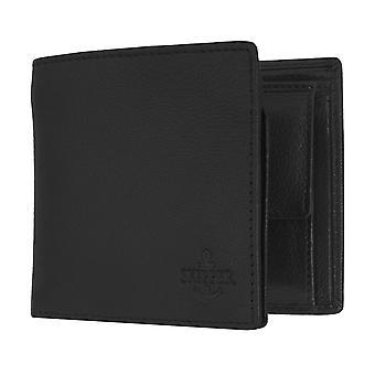 Skipper Herre pung tegnebog pung læder pung liggende format sort 6874