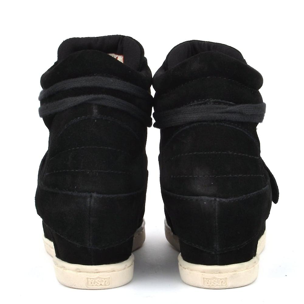 Ash chaussures Kids' Babe Black Suede Wedge Salut-top Trainer p3Plm7