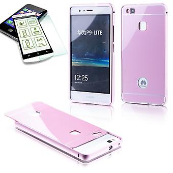 Aluminium bumper 2 piece pink + 0.3 mm H9 tempered glass for Huawei P9 Lite pouch case cover