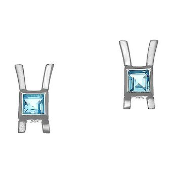 November Sterling Silver Traditional Birthstone Design Pair of Earrings Blue Topaz Stone - CE410