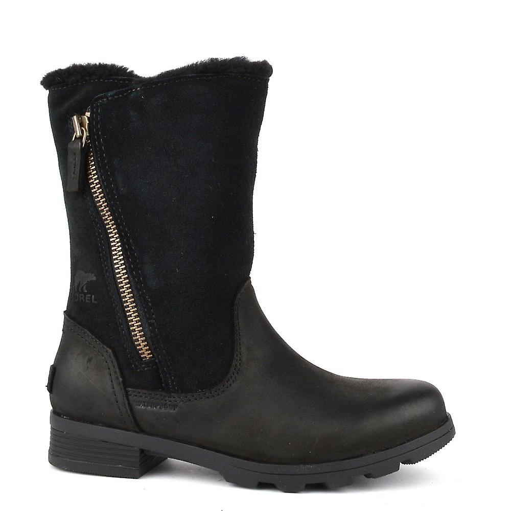 Sorel Emelie Foldover Black Leather And Suede Boot dvhg1