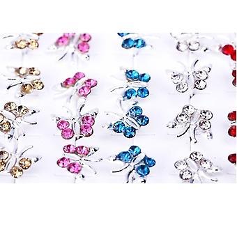 20 pares de borboleta cristal Strass prata brincos de orelha