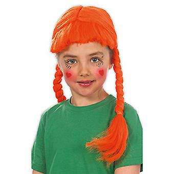 Brat kind pruik oranje pony pruik schouder lengte vlechten accessoire