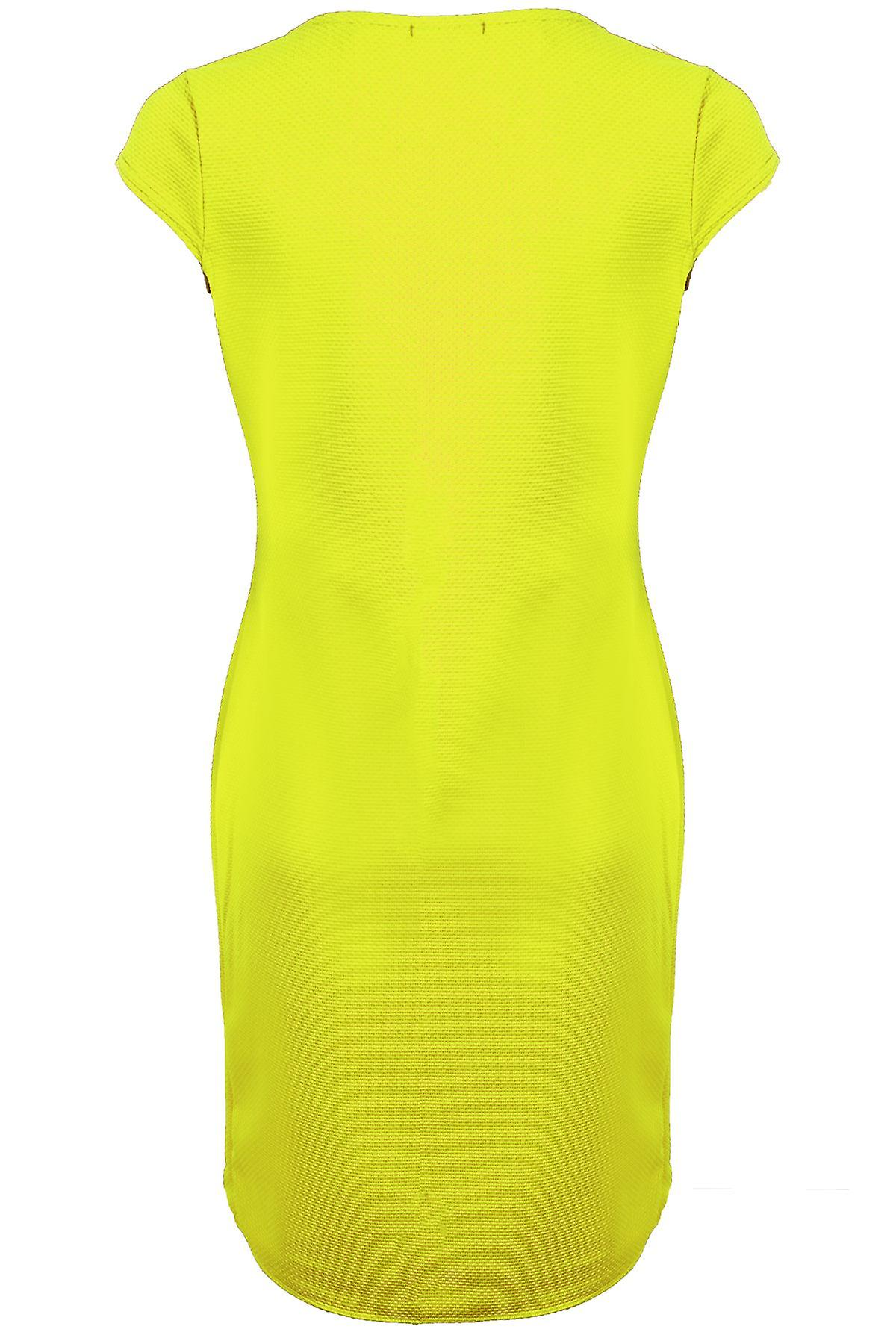 Ladies Cap Sleeve V Neck Wrap Gathered Textured Split Women's Bodycon Dress