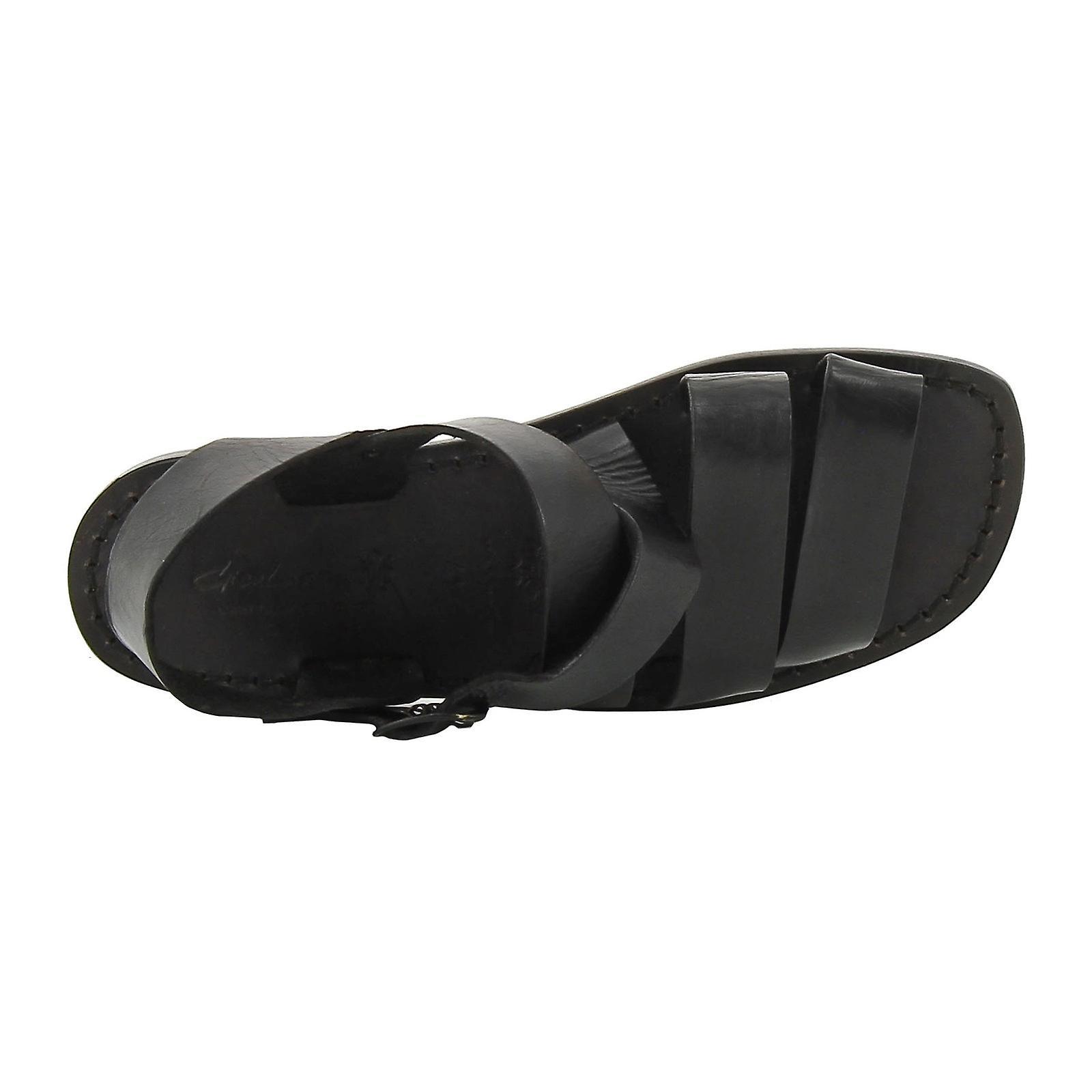 À la main en sandales mens Italie en cuir noir