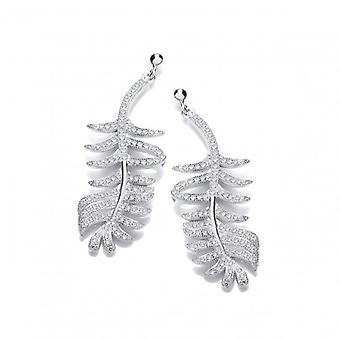 Cavendish French Fine Feather Silver & Cubic Zirconia Earrings