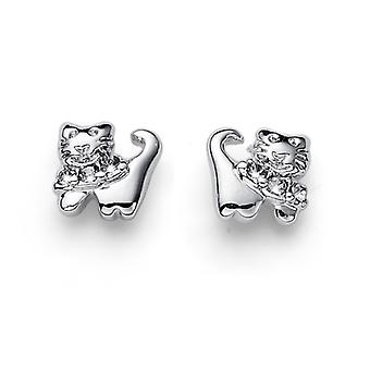 Oliver Weber Earring Kitty Rhodium, Bl. Diamond