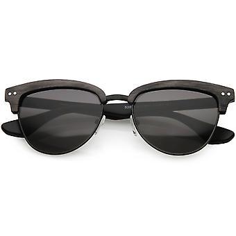 Faux Wood Semi Rimless Horn Rimmed Sunglasses Square Lens 53mm