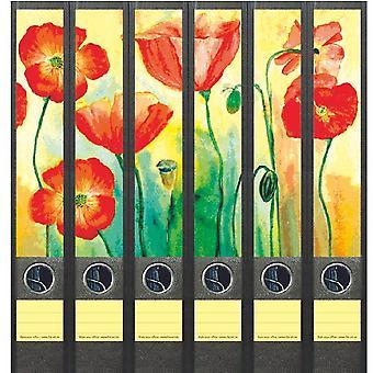 Rugetiket Rode bloemen 6 etiketten