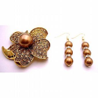 Geschenk goldene Sonnenblume Golden Shadow Kristall Brosche & Perlen Ohrringe