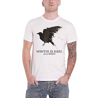 Game Of Thrones T Shirt Winter Is Here Crow Season 8 new Official Mens White