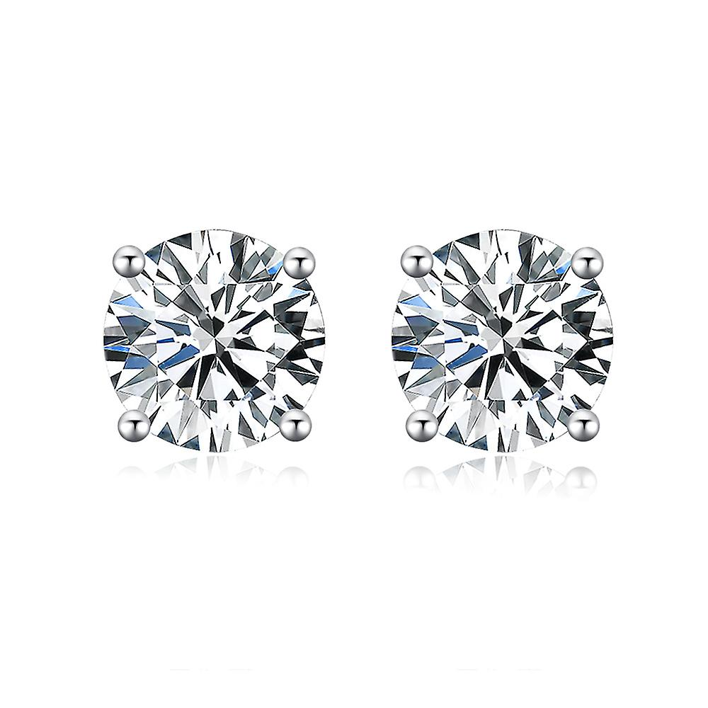 925 Sterling Silver Round Cut Cubic Zirconia Stud Earrings