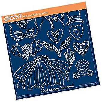 Groovi Linda's Wedding Owl Accessories A4 Square Plate