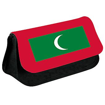 Maldives Flag Printed Design Pencil Case for Stationary/Cosmetic - 0106 (Black) by i-Tronixs