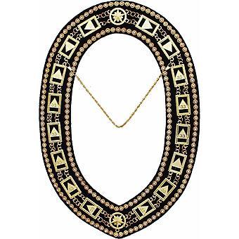 33rd Degree - Scottish Rite Rhinestone Chain Collar - Gold/Silver on Black + Free Case