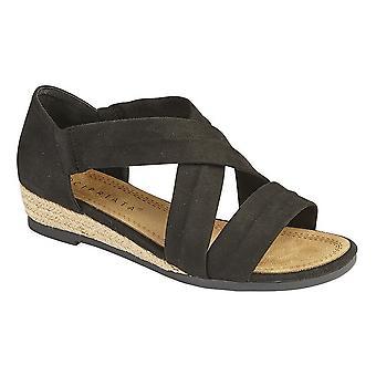 Cipriata Womens/Ladies oliva talón en sandalias de barra de cruce elástico