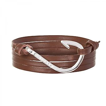 Holler Kirby  Silver Polished Hook / Brown Leather Bracelet  HLB-04SRP-L04