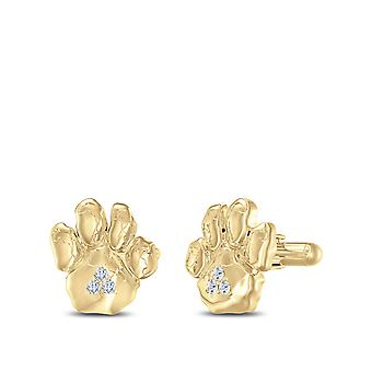 PITT Panther Paw Diamond Cuff Links In 14K Yellow Gold
