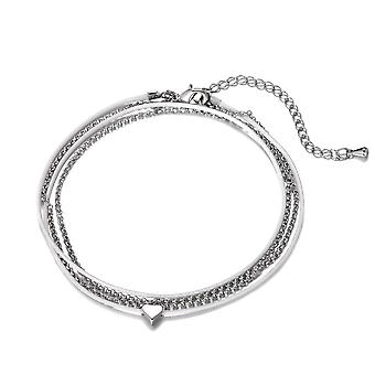 White & silver heart charm anklet