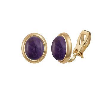 Eeuwige collectie Menuet Amethyst Gold Tone Stud Clip op oorbellen