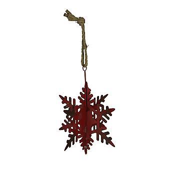 Rustic Metal Hanging Snowflake Ornament