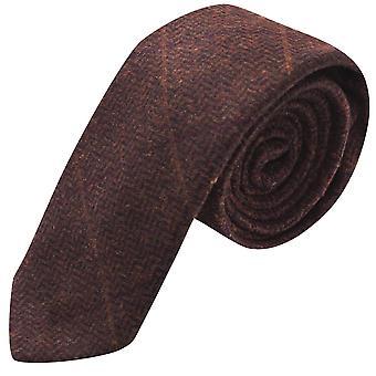 Luxe mahoniehouten Herringbone Check Tie, Tweed